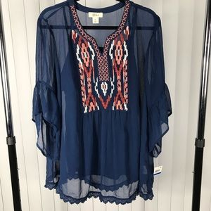 Style & Co  Sheer Blue Embroidered Blouse w/ Tank